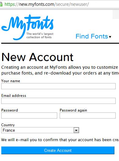 Formulaire de création de compte sur le site MyFonts