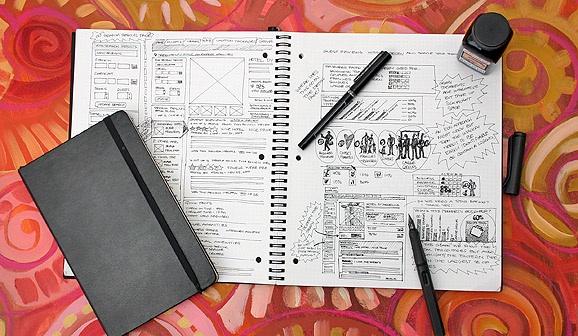 Photo des carnets de croquis et des crayons de T.Scott